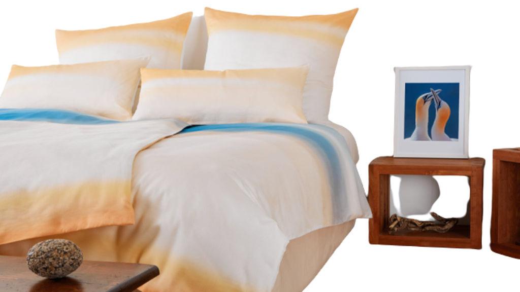 Bettwaren orange-weiß-blau