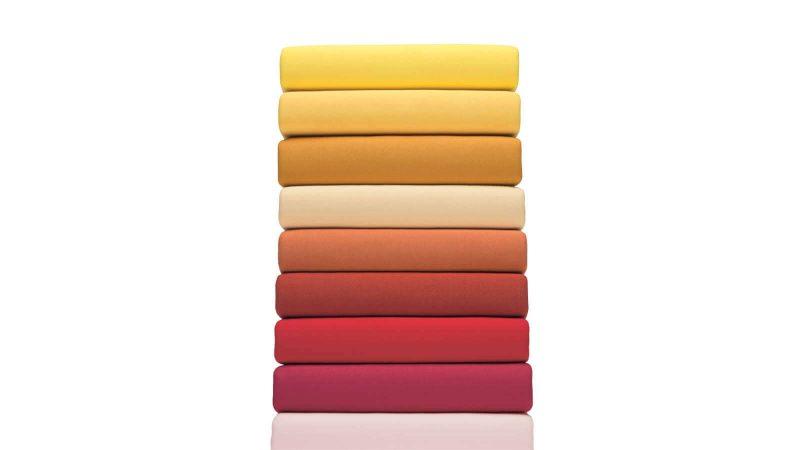 Jersey Spannbezug rot, orange, gelb